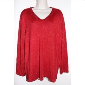JM Collection Red Metallic V-Neck 3/4 Sleeve 1X-2X